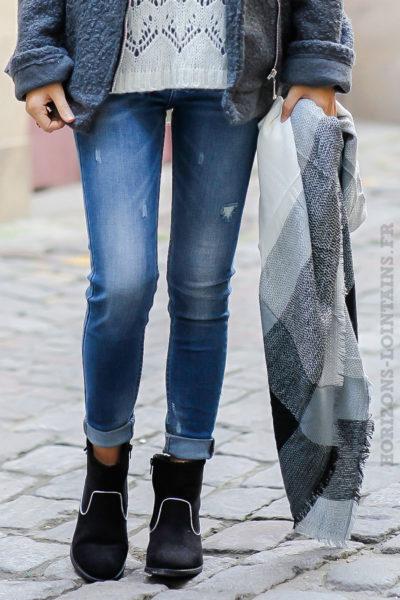 écharpe douce hiver carreaux noire écrue grise foulard femme