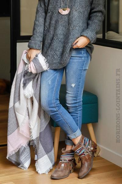 écharpe douce hiver carreaux rose poudré écrue grise foulard femme