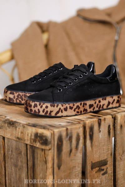 Baskets noires matière suédine semelle plateforme imprimé léopard