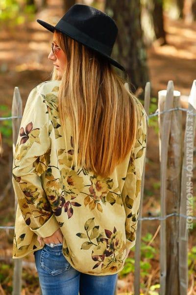 Blazer couleur vert olive imprimé fleuri fleurs B027