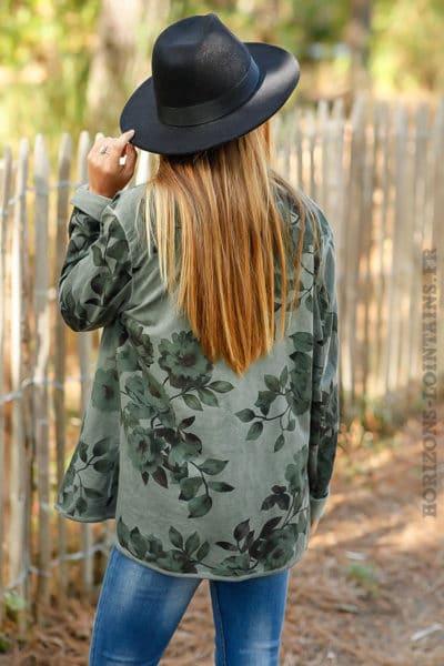 Blazer vert kaki imprimé fleuri marrons veste motifs floraux détails B027