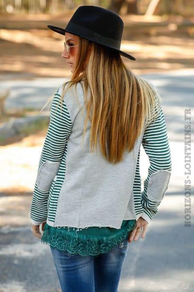 Blazer vert rayé look vintage rayures horizontales vertes écrues B021