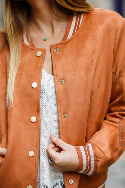 Blouson femme style pilote avion bombers camel orange It Hippie