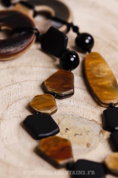 Collier sautoir perles camel marrons noires effet nacré 102