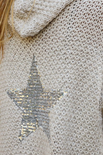 Gilet écru capuche grosses mailles chaudes étoile sequins argentés dos veste femme