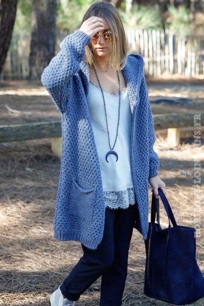 Gilet bleu jean capuche grosses mailles chaudes étoile sequins argentés dos veste femme