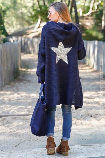 Gilet bleu marine capuche grosses mailles chaudes étoile sequins argentés dos veste femme