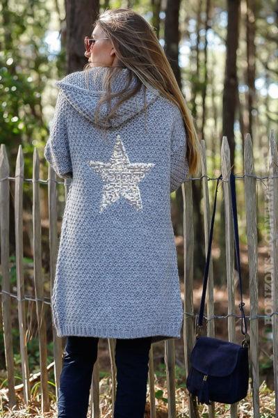 Gilet gris capuche grosses mailles chaudes étoile sequins argentés dos veste femme