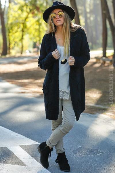 Gilet long noir mailles détail boules relief vêtements femme