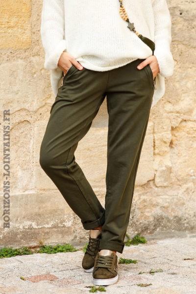 Jogging-kaki-ceinture-élastique-poches-zip-pantalon-femme-détail