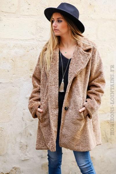 Manteau camel tout doux et confortable pour femme