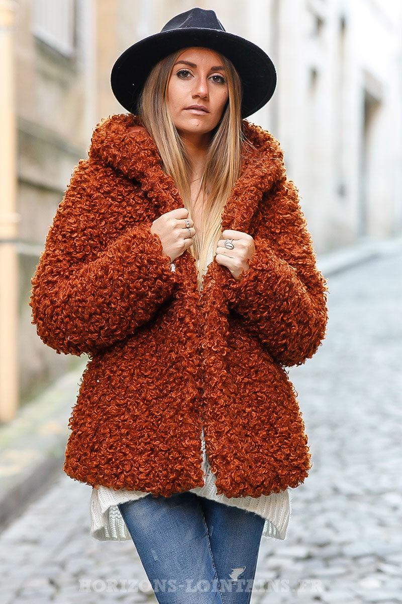 Manteau à capuche brique tout doux effet laine de mouton bouclée