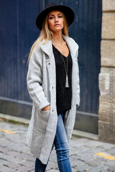 Manteau femme hiver mi-long gris chiné