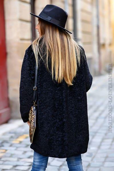 Manteau noir tout doux et confortable pour femme