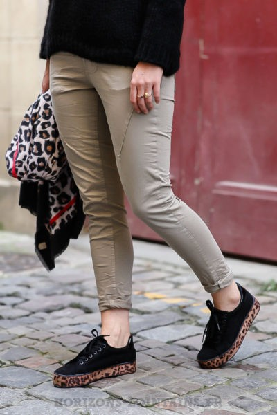 Pantalon femme bi-matière marron taupe