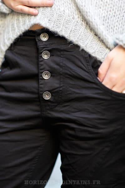 Pantalon femme bi-matière noir
