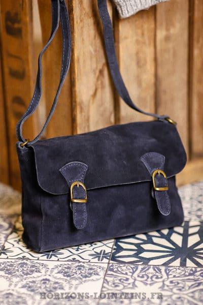 de sangle bleu croûte cartable sac avec cuir en marine Petit gExYq7wzFg