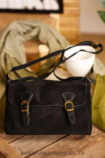 petit sac style cartable noir, cuir velours, bandoulière réglable pratique