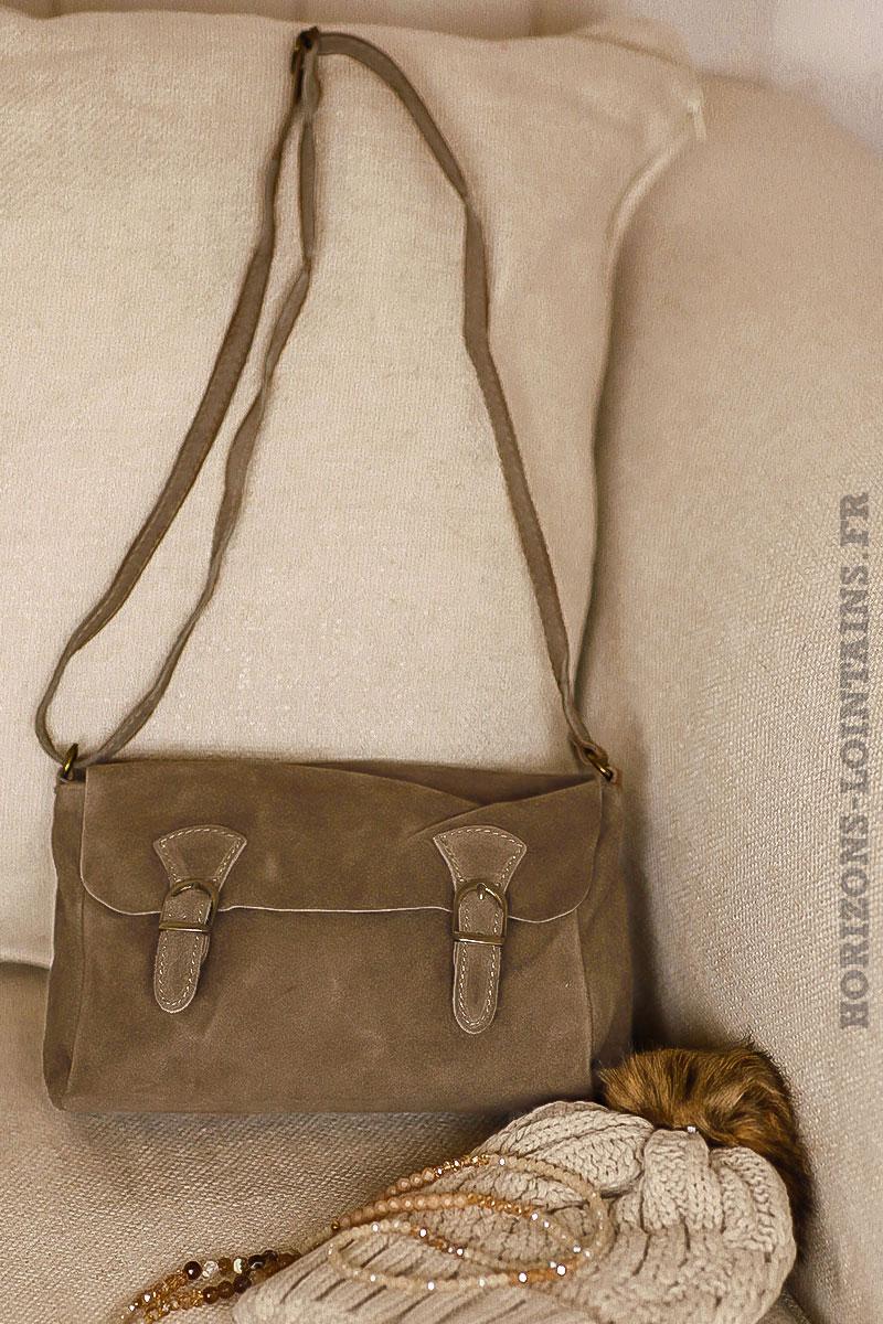 77986eb614 petit sac style cartable taupe, cuir velours, bandoulière réglable pratique