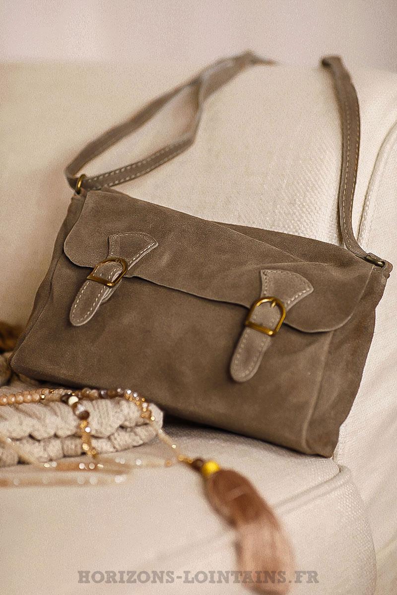 6626865847 petit sac style cartable taupe, cuir velours, bandoulière réglable pratique