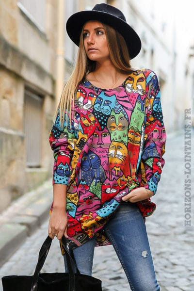 Pull femme doux avec dessins de chat de toutes les couleurs