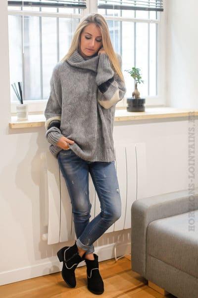 Pull gris tout doux col boule large chaud vêtement femme B221