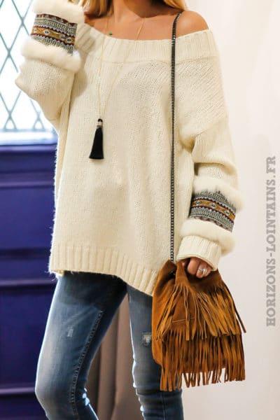 Sac seau camel marron clair matière cuir velours franges anses chainettes look indien