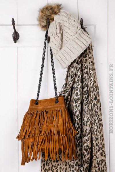 Sac seau à franges, couleur camel, cuir velours et anse chaînette