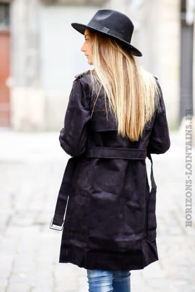 Manteau trench femme noir en suédine pour un look urbain moderne