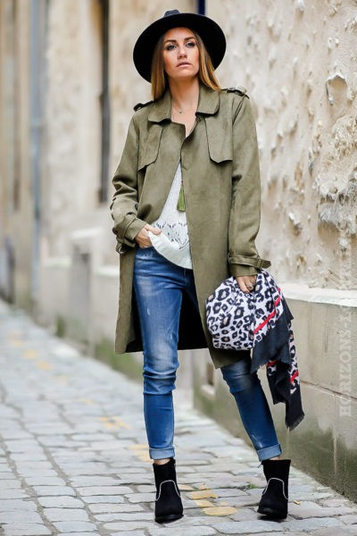 Manteau trench femme kaki en suédine pour un look urbain moderne