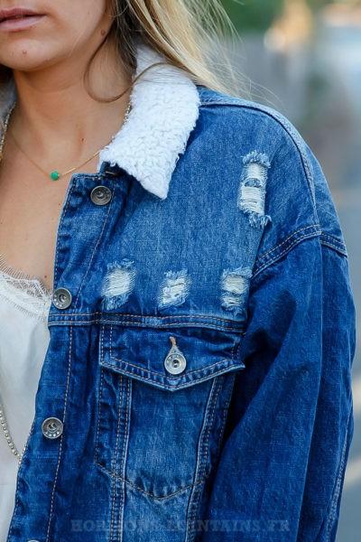 Veste en jean oversize femme délavage vintage moyen