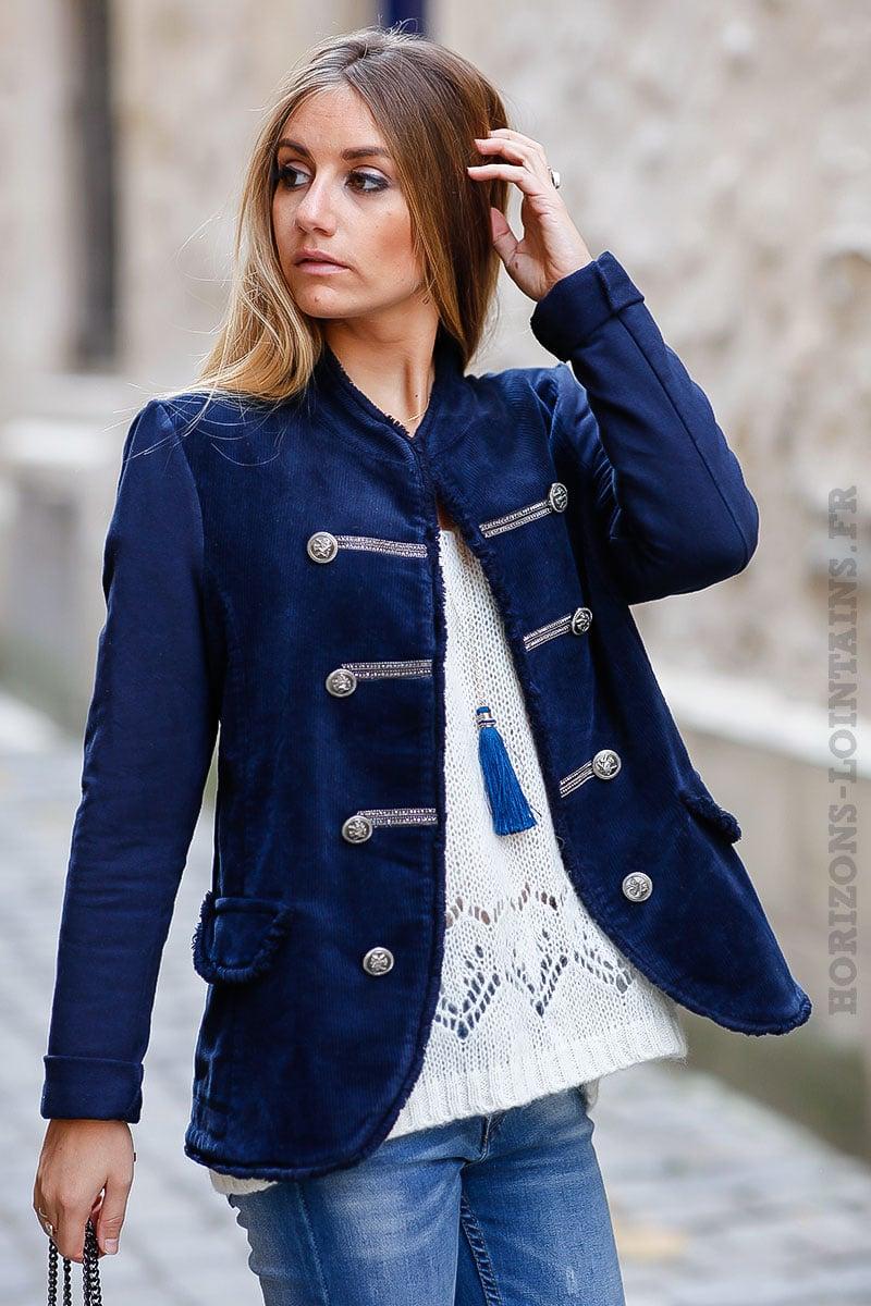 Officier Veste Matière Bleu Et Coton Marine Bi Velours Horizons dw1wfrq