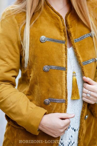 Veste officier femme jaune moutarde liserés argentés bi matière coton velours look vintage manteau