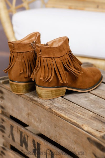 bottines franges marron clair camel talon boheme look hippie chic coté