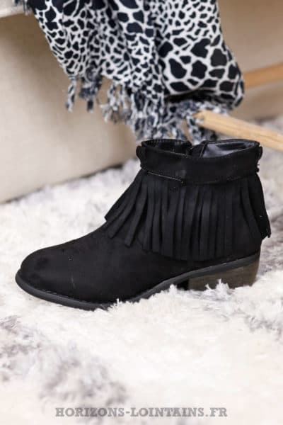 bottines franges noire talon look boheme hippie chic B031