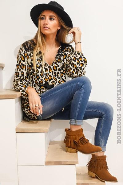 Tunique imprimé léopard beige moutarde dentelle noire sur les épaules