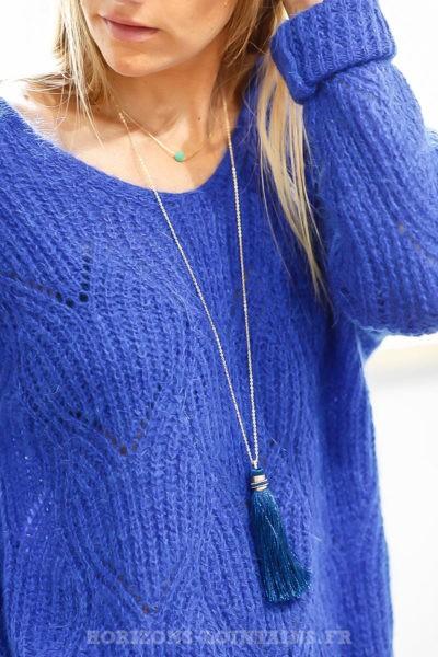 collier acier doré pompon bleu marine sautoir chic 112
