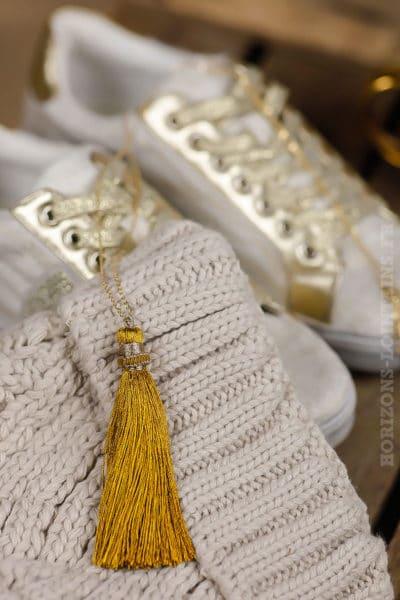 collier acier doré pompon jaune moutarde sautoir classe bijoux femme