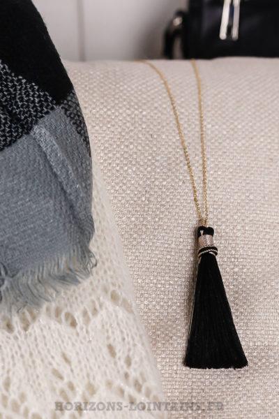 collier acier doré pompon noir sautoir classe bijoux femme