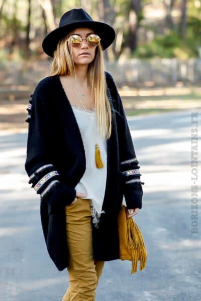 gilet grosses mailles noir poches vêtement femme chaud look ethnique
