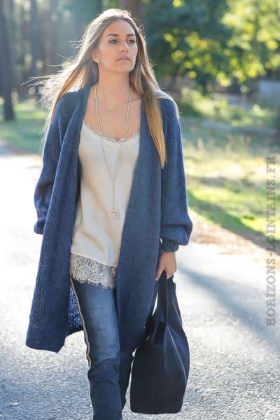 Gilet long ample bleu jean grosses mailles