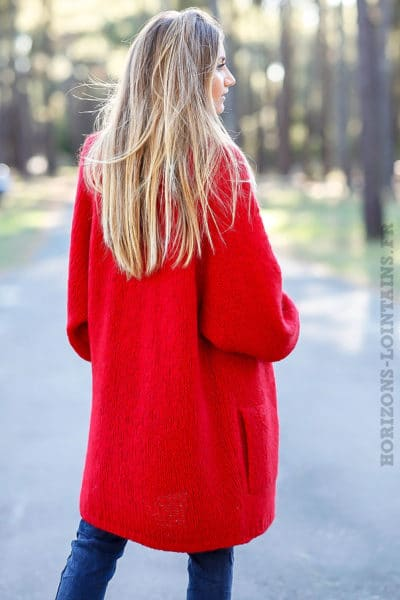 Gilet long ample rouge grosses mailles