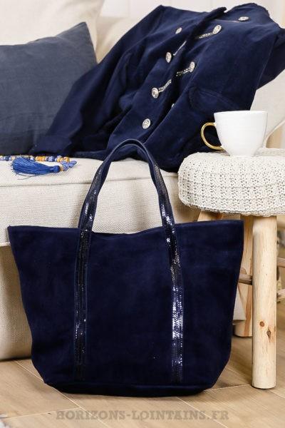 Sac Bleu Marine en cuir velours, grande contenance, anse avec sequin
