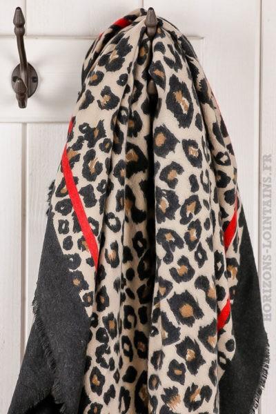 grande écharpe femme imprimé Léopard, douce