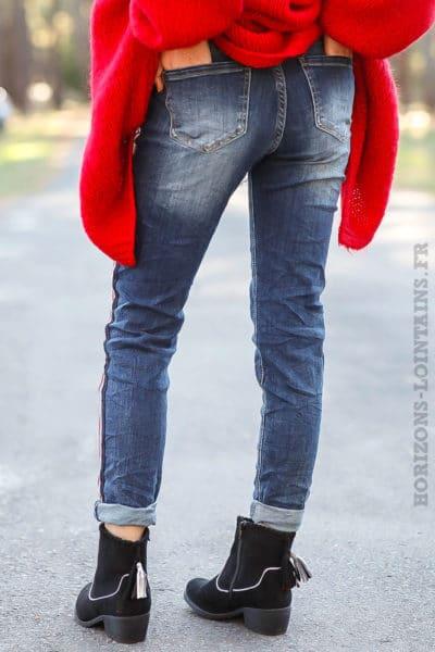 jean bande tricolore bleu blanc rouge pantalon femme confortable look moderne