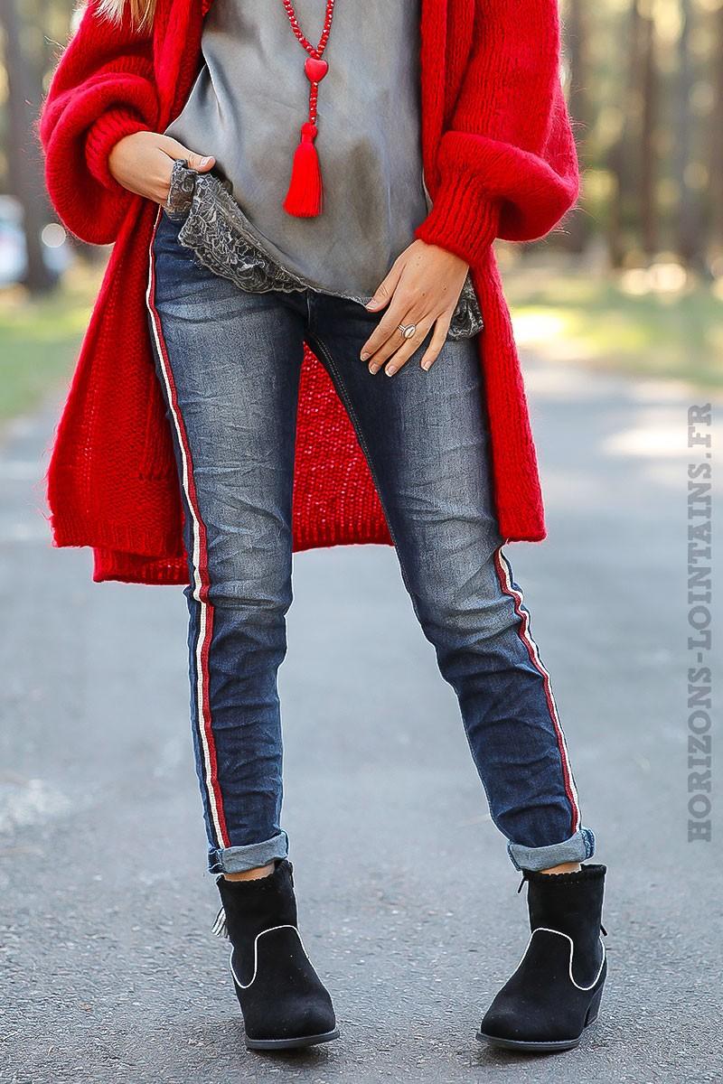 jean bande tricolore bleue blanche et rouge horizons. Black Bedroom Furniture Sets. Home Design Ideas