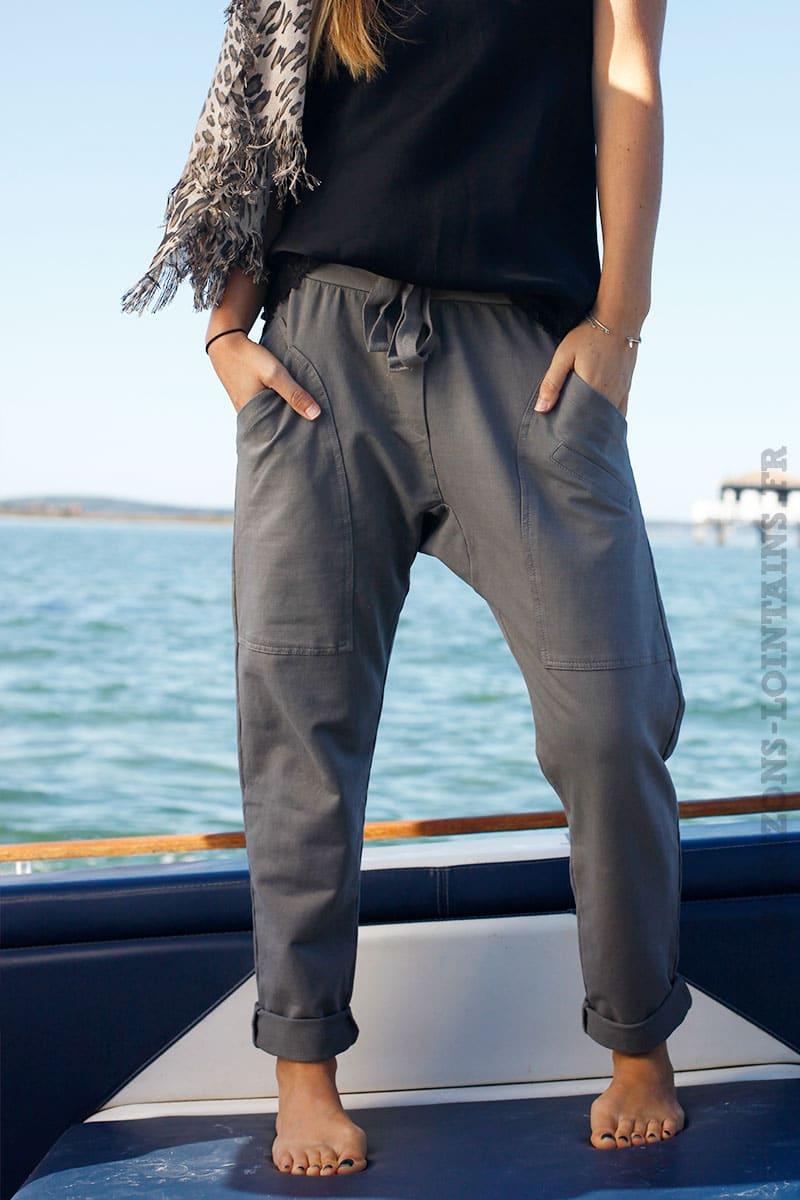 278c3c333b4d5 Pantalon de jogging urbain couleur taupe à poches - Horizons Lointains