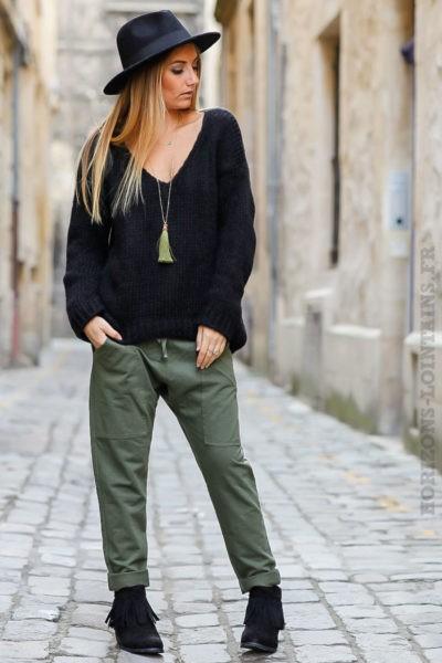 jogging urbain dégaine vert kaki avec poches