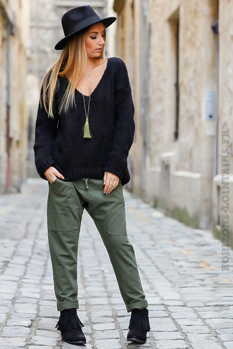 Pantalon de jogging urbain kaki à poches - Horizons Lointains 0e419b58cb2