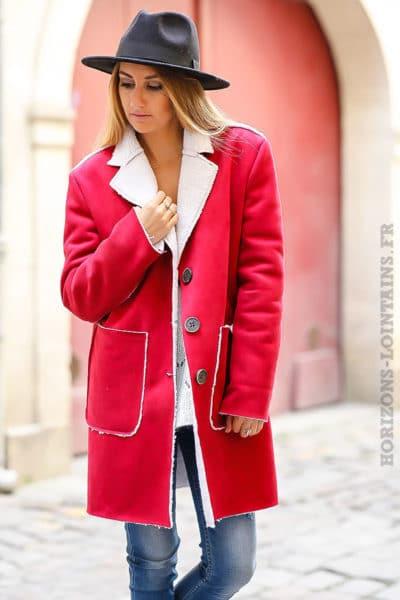 Manteau femme rouge framboise effet peau retournée